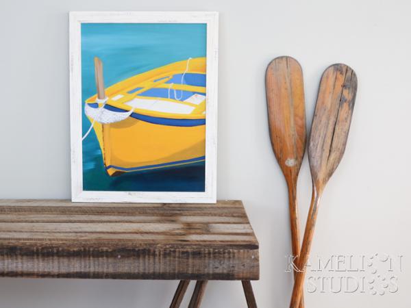 Yellow wooden fishing boat