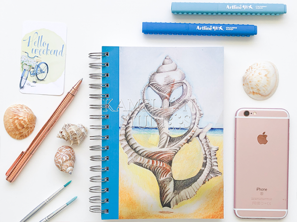 A5 sea shell notebook journal diary by Kamelion Studios