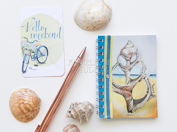 Beach decor notebook journal with sea shell cover