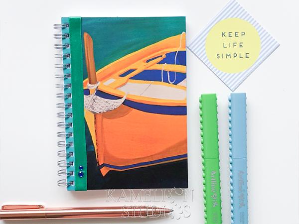 Handmade spiral bound notebook, Travel Diary, daily journa