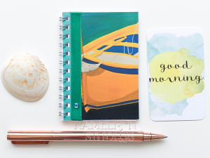 My hand made spiral bound books make the perfect travel diary notebook. This one will delight the boat lovers