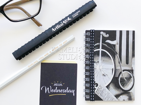 Black and white notebooks available from Kamelion Studios