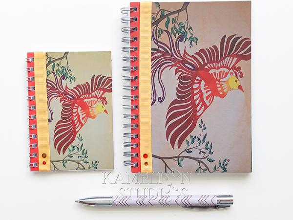Hand made spiral bound phoenix notebooks.