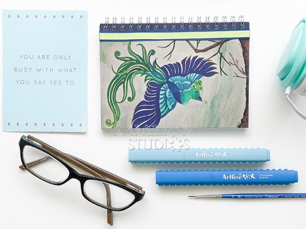 Hand made blue phoenix journal notebook