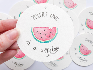 You're one in a Melon watermelon gift tag by Kamelion Studios