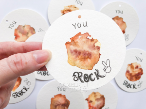 You Rock pun illustrated gift tag by Kamelion Studios