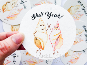 Shell Yeah! Illustrated gift tag by Kamelion Studios