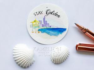 Gold Coast skyline gift tag by Kamelion Studios