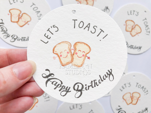 Let's Toast! Happy Birthday gift tag by Kamelion Studios