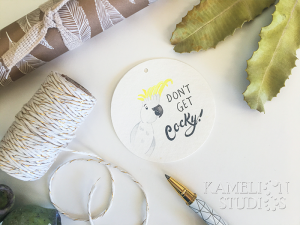 Cockatoo gift tag by Kamelion Studios