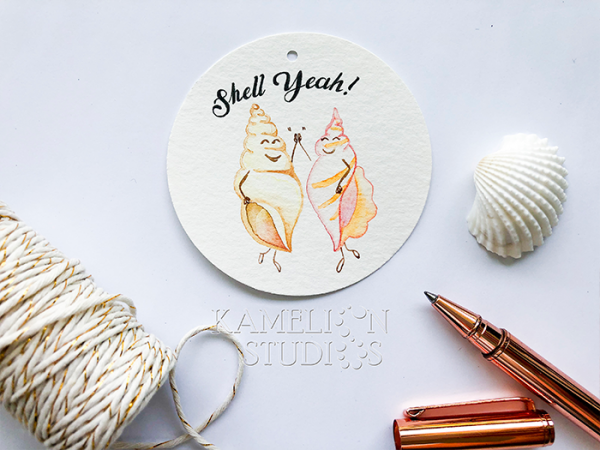 Sea shell gift tag by Kamelion Studios