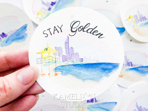 Stay Golden greeting card by Kamelion Studios