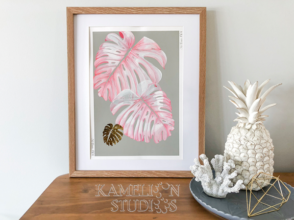 Pink Monstera leaves on Gray by Kamelion Studios