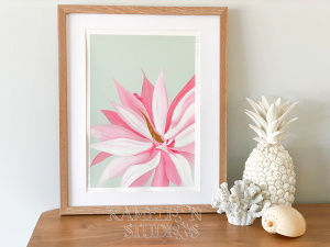Pink and Mint Agave painting by Kamelion Studios